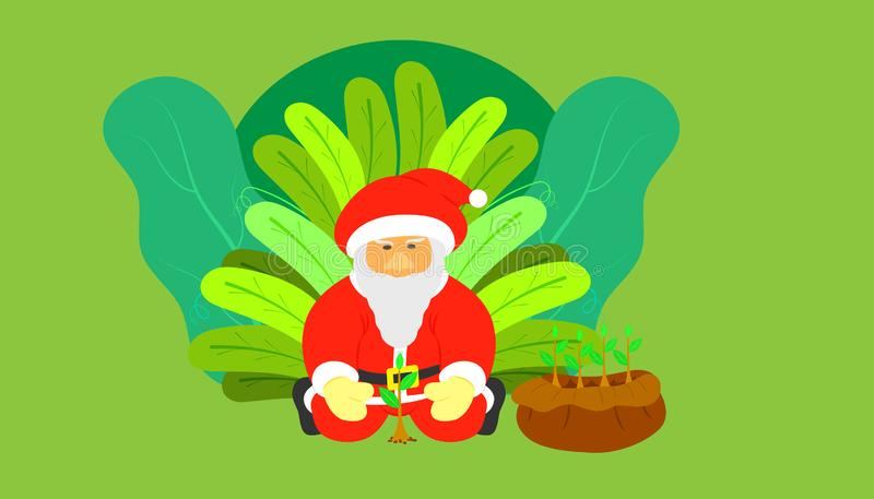 Santa claus flat cartoon planing a tree for giving people gift proteced hot planet on merry christmas holiday. leaf background. Santa claus flat cartoon planing royalty free stock images
