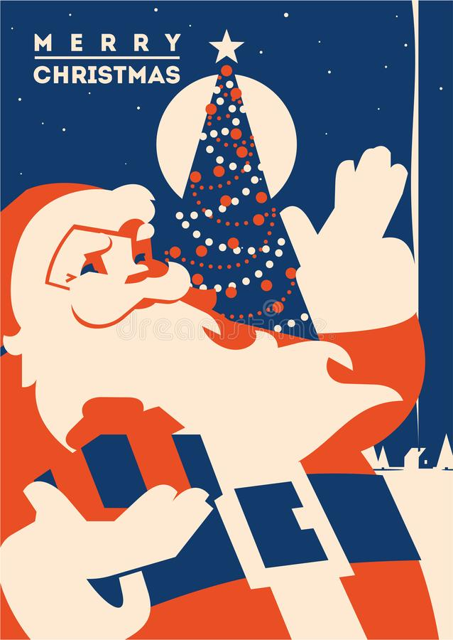 Santa claus with Christmas tree minimalistic vector illustration. Santa claus flat minialistic vector illustration. Christmas vintage hipster poster for party or