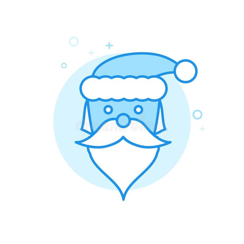 Santa Claus Flat Vector Icon julsymbol, Pictogram, tecken Ljust - blå monokrom design Redigerbar slaglängd stock illustrationer