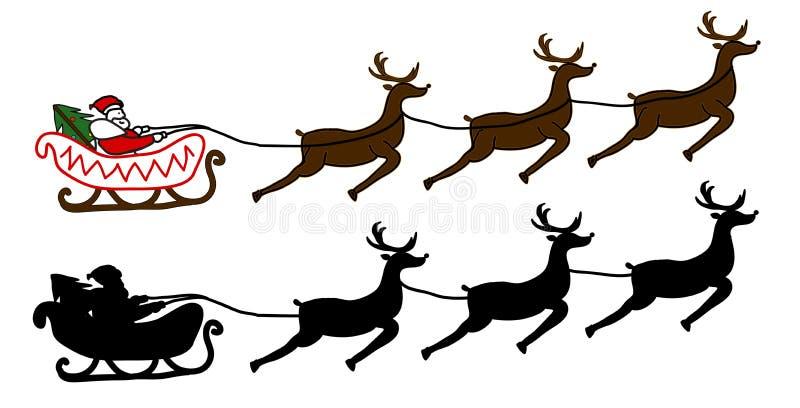 Santa Claus fliegt in einen Pferdeschlitten lizenzfreie stockfotos