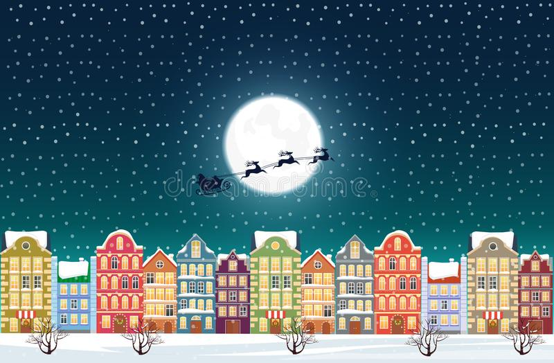 Santa Claus flies over a decorated snowy old city town near moon at Christmas eve. Santa Claus flies over a decorated snowy old city town near moon at Christmas stock illustration