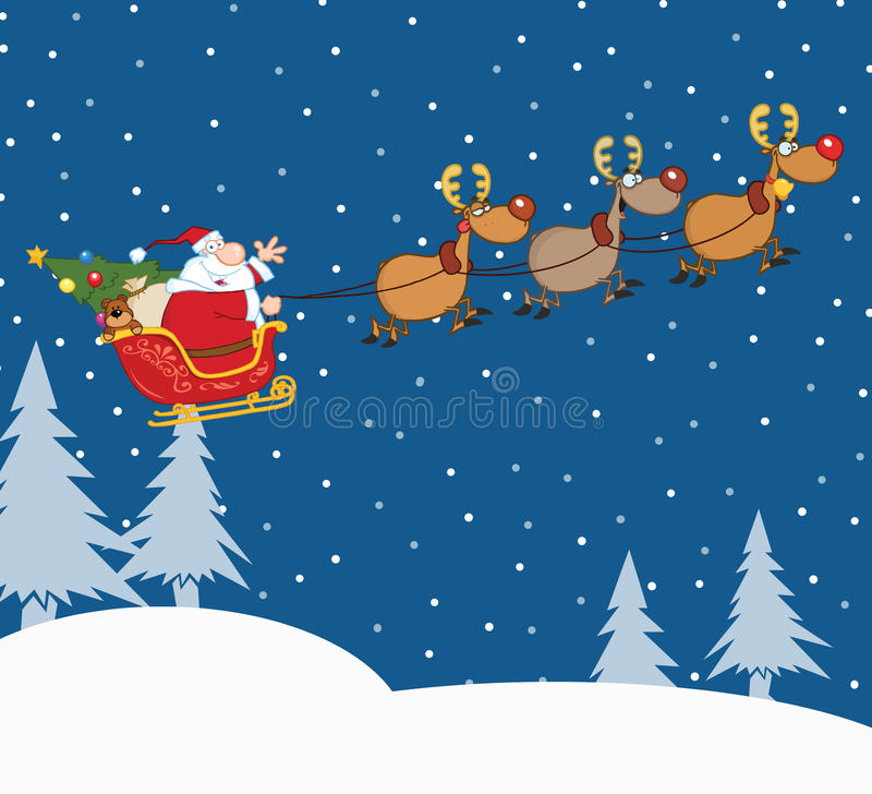 Santa Claus In Flight With His Reindeer And Sleigh stock illustration
