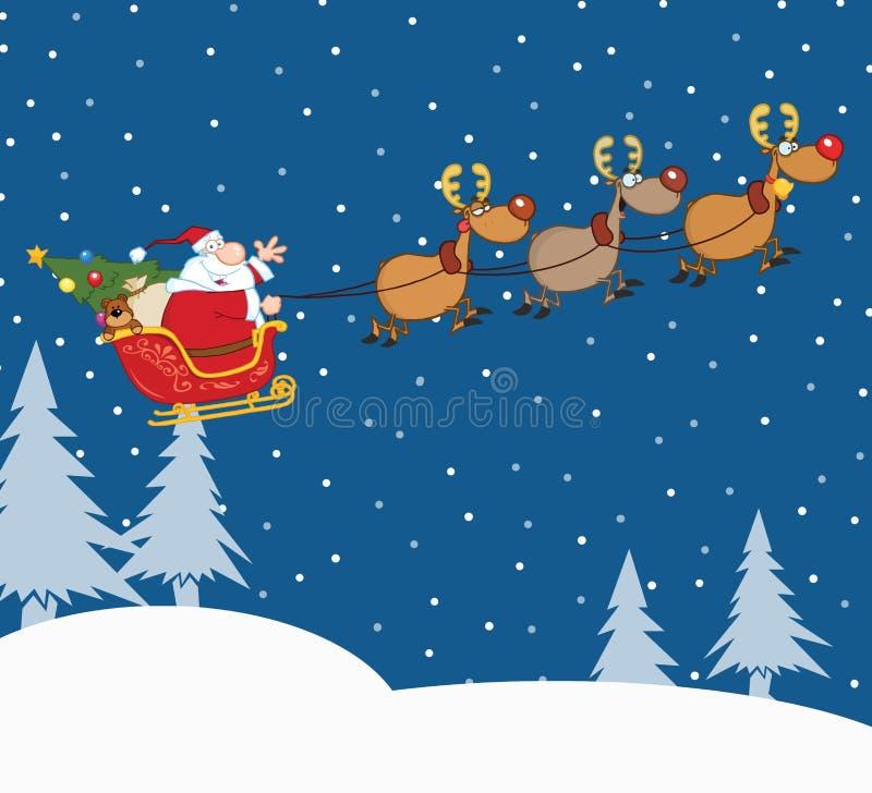 Santa Claus In Flight With His ren och släde stock illustrationer
