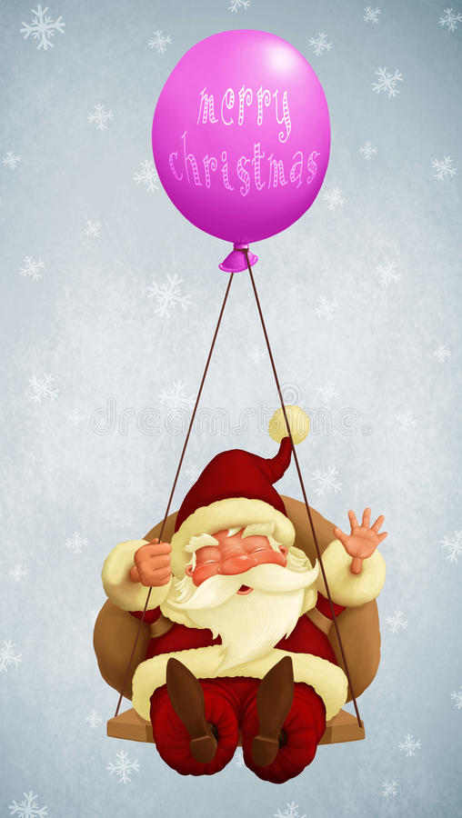 Santa Claus fly With a Balloon. For Christmas greetings card vector illustration