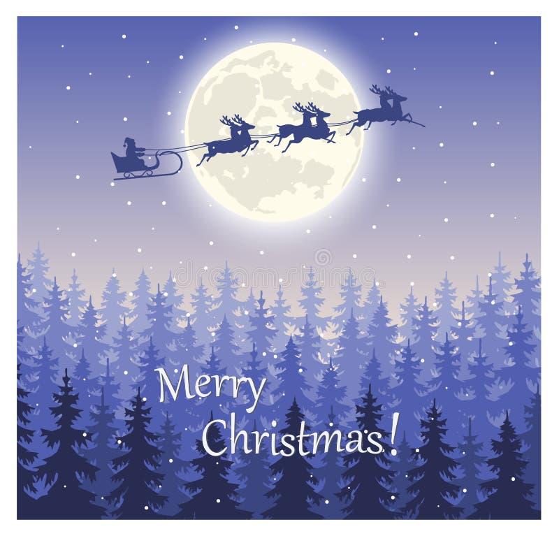 Santa Claus flyg på pulkan på himlen mot en felik skog vektor illustrationer