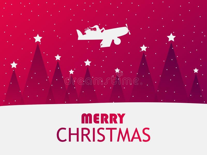 Santa Claus flyger i ett flygplan över ett vinterlandskap med julgranar Hälsningkort med fallande snö Röd lutning vektor illustrationer