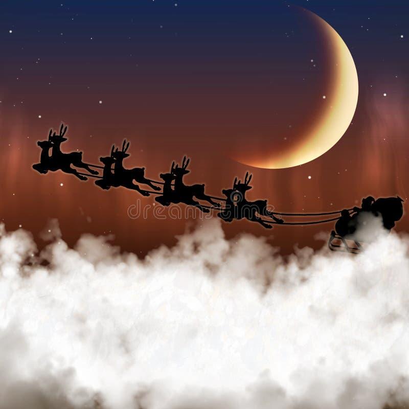 Santa Claus flyger på en bakgrund av månen royaltyfria foton