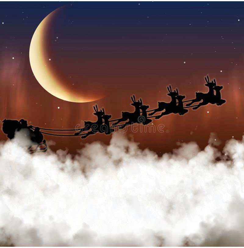 Santa Claus flyger på en bakgrund av månen arkivbild