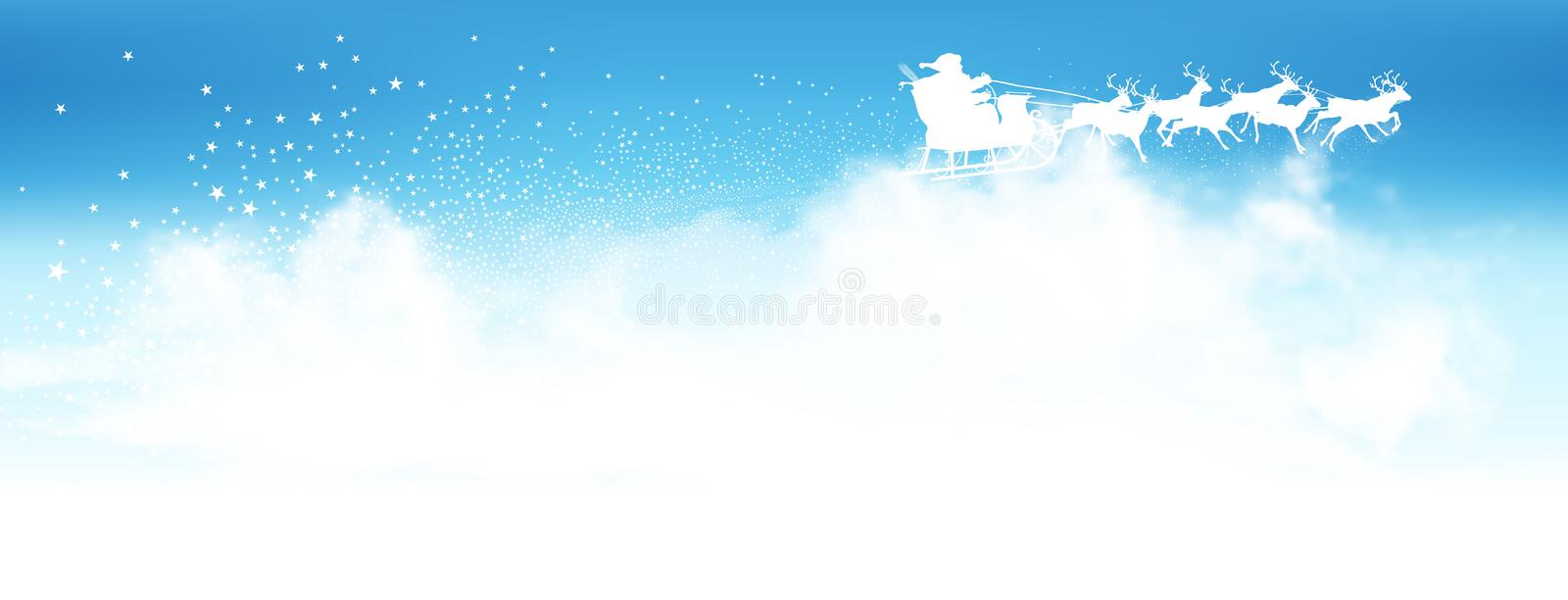 Santa Claus Flying Above The Clouds mit Ren-Schlitten stock abbildung