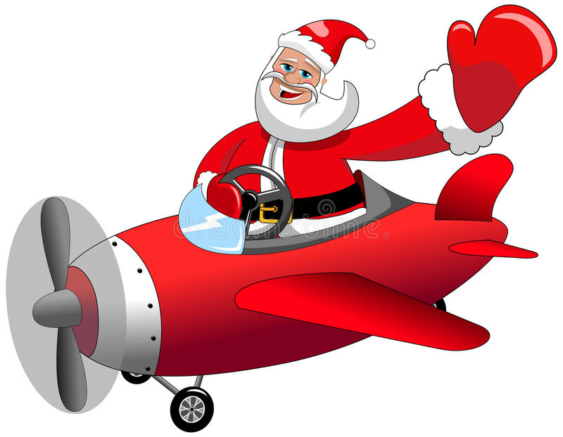 Santa Claus Flying Airplane Christmas Isolated royalty-vrije illustratie