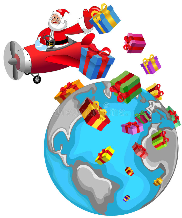 Santa Claus Flying Airplane Christmas World vektor abbildung