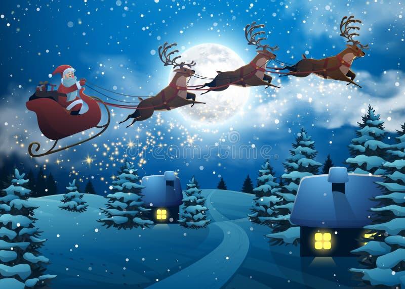 Santa Claus Flying em um trenó com cervos Árvore de abeto nevado da paisagem do Natal da casa na noite e na lua grande Conceito p ilustração royalty free
