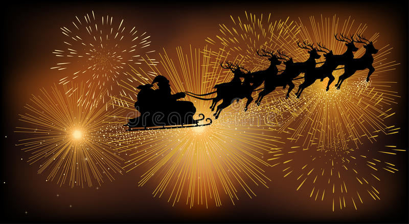 Santa Claus Flying With His Sleigh stock illustratie