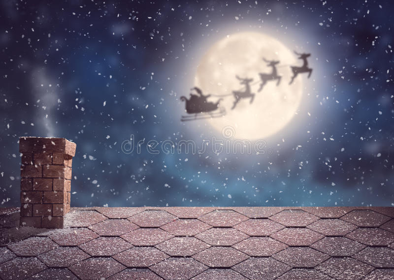 Santa Claus flying in his sleigh. Merry Christmas and happy holidays! Santa Claus flying in his sleigh on background moon sky. Christmas story concept stock images