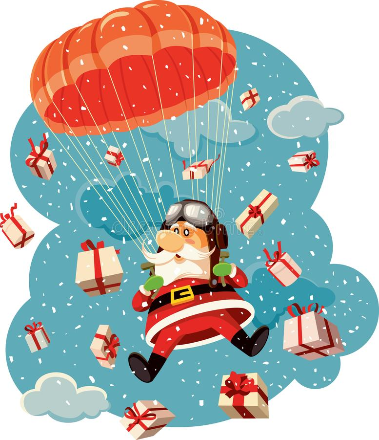 Santa Claus Flying with Parachute Surrounded by Gifts Vector Illustration. Parachutist Santa in the air bringing lots of Christmas presents stock illustration