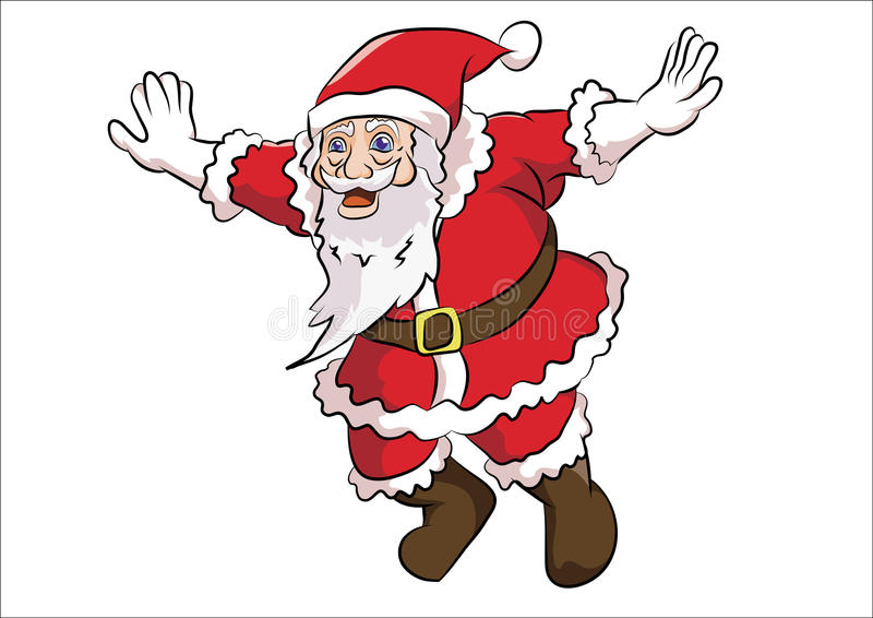 Santa claus flying pose. Santa class wearing red jump up with flying pose stock illustration