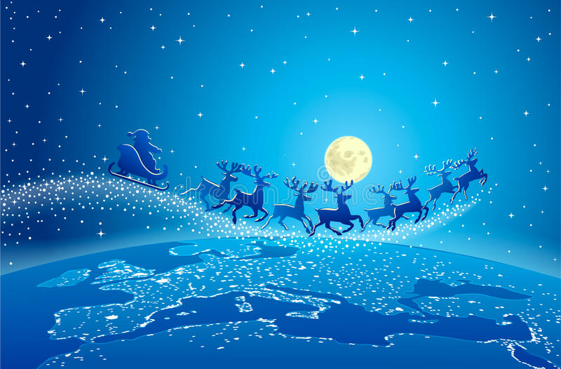 Santa claus flying reindeer world stars stock vector