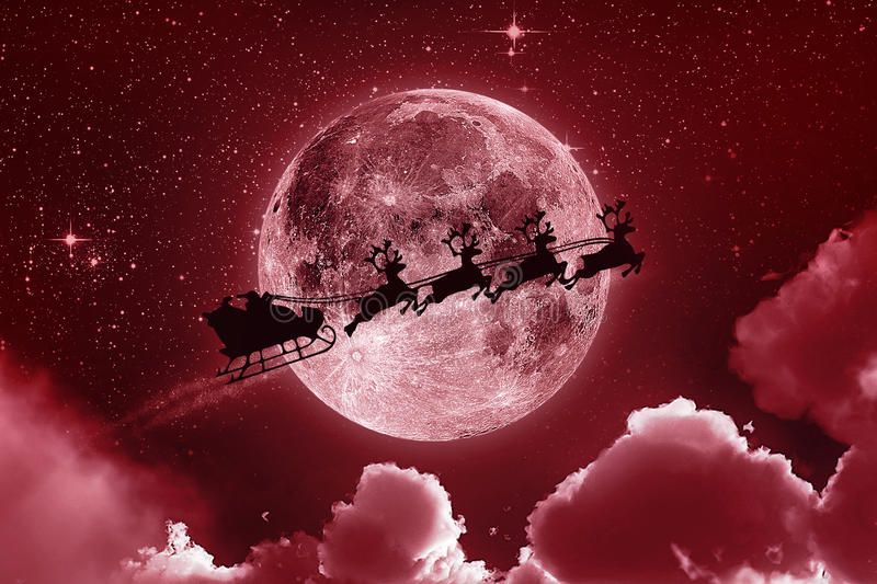 Santa Claus Flying On The Sky - rosso immagini stock