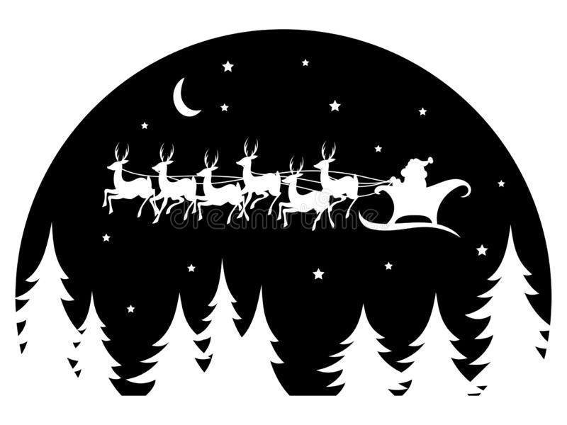 Santa Claus flying in a sleigh drawn by deer over the forest. Black and white vector illustration for Christmas. Santa Claus flying in a sleigh drawn by deer stock illustration