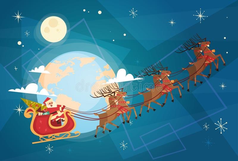 Santa Claus Flying In Sleigh In-Hemel met Rendieren, Vrolijke Kerstmis en Gelukkige Nieuwjaarbanner vector illustratie
