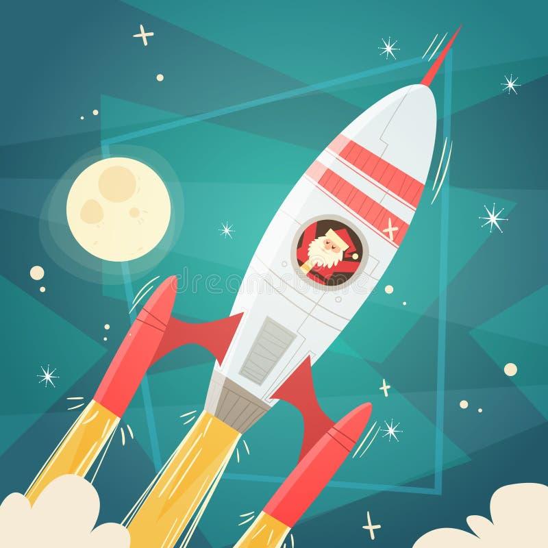 Santa Claus Flying In Space Rocket in Hemel met Maan, Vrolijke Kerstmis en Gelukkige Nieuwjaarbanner stock illustratie