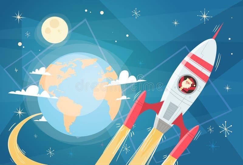 Santa Claus Flying In Space Rocket over Aardeplaneet, Vrolijke Kerstmis en Gelukkige Nieuwjaarbanner vector illustratie