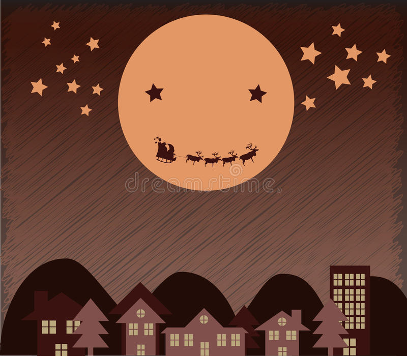 Download Santa Claus Flying Upper City Beside Moon Stock Vector - Image: 28024884