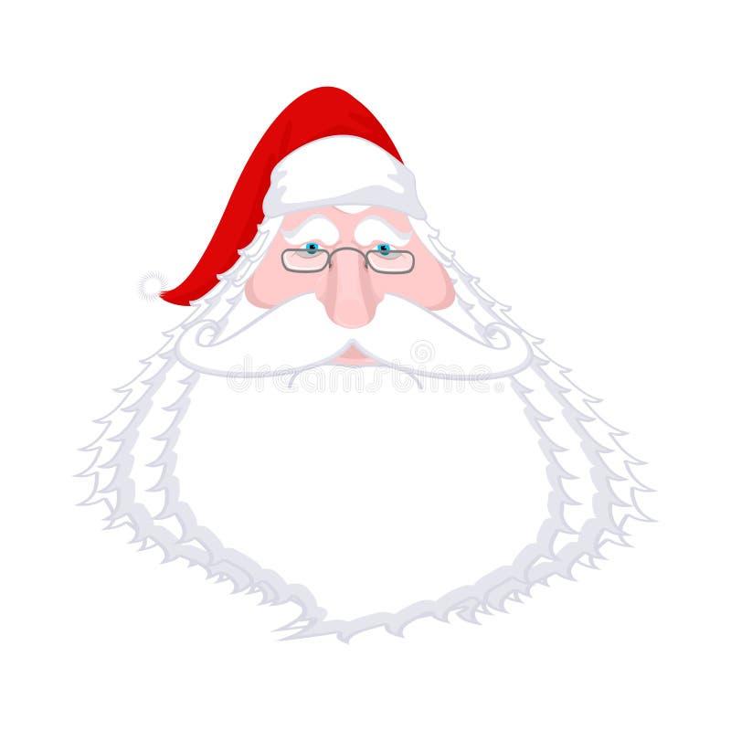 Santa Claus font face d'isolement Grand-papa de Noël avec la barbe blanche illustration de vecteur