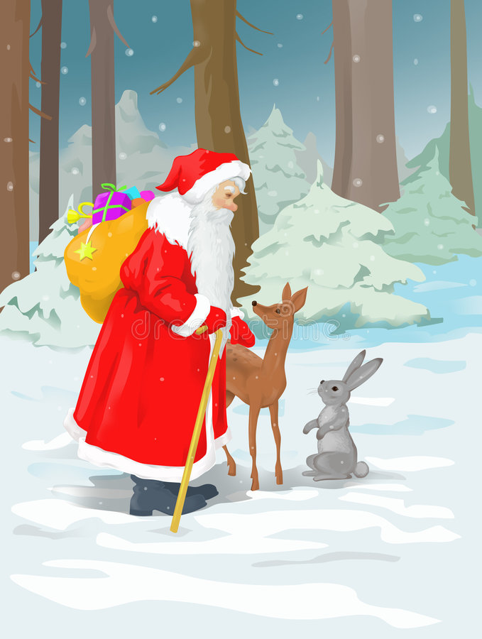 Santa claus in the forest royalty free stock photos