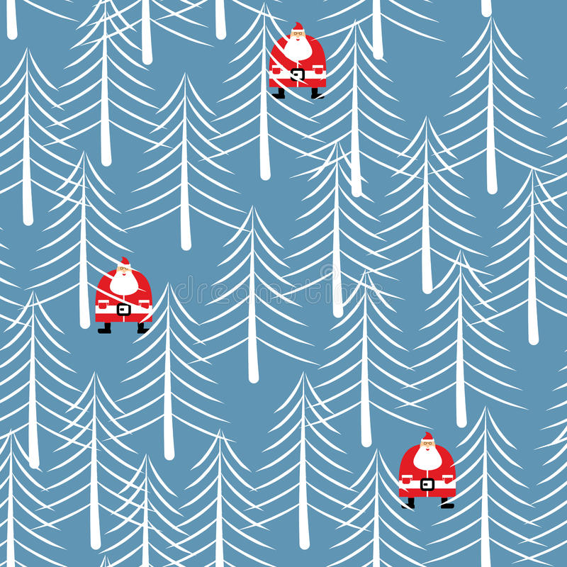 Santa Claus in forest seamless pattern. White trees Winter texture. Christmas background. New Year ornament stock illustration