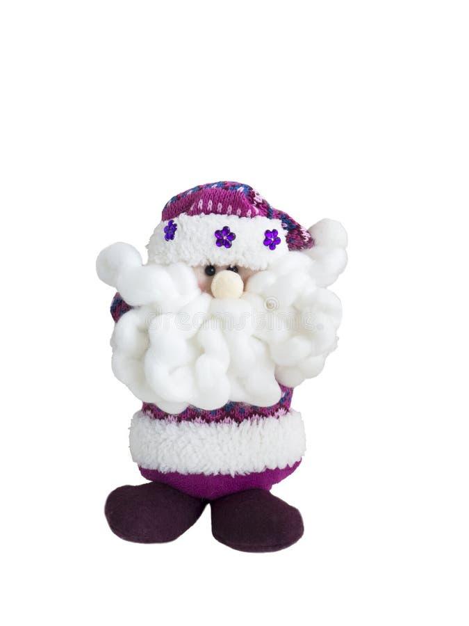 Santa Claus från ull En toy på entree med porslin Jultomte och gran - tree arkivbilder