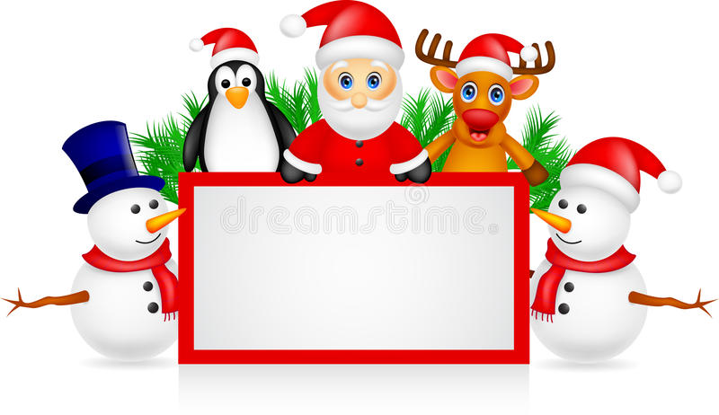 Santa claus with friends and blank sign royalty free illustration