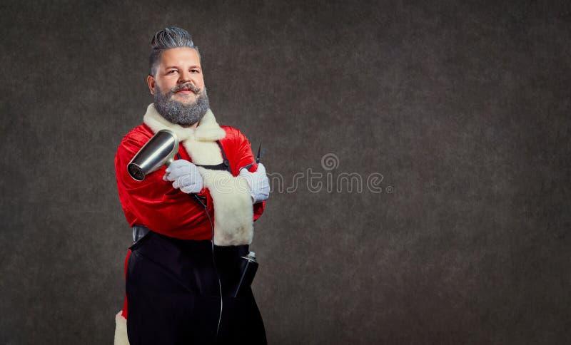 Santa Claus frisörbarberare på bakgrunden av copyspace arkivfoton