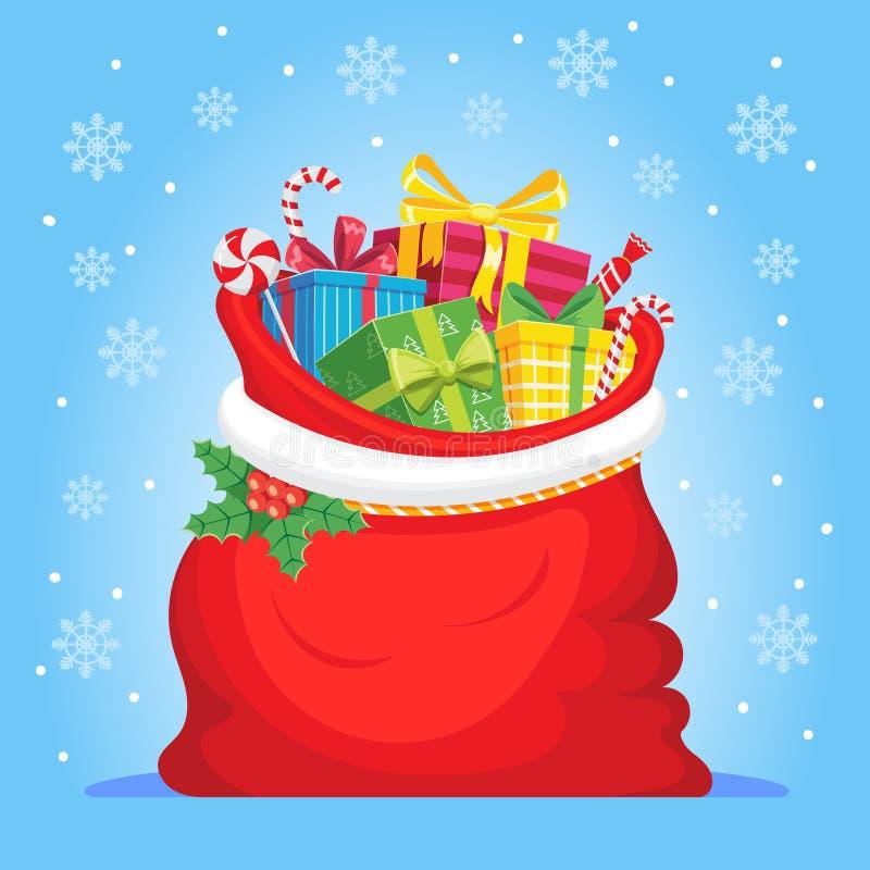 Santa Claus gåvor i påse Julklappar plundrar, högen av sötsaker gåva och xmas-vektorillustrationen vektor illustrationer