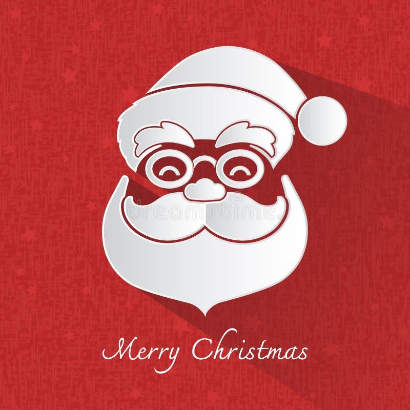 Santa Claus głowy symbol na czerwonym tle royalty ilustracja