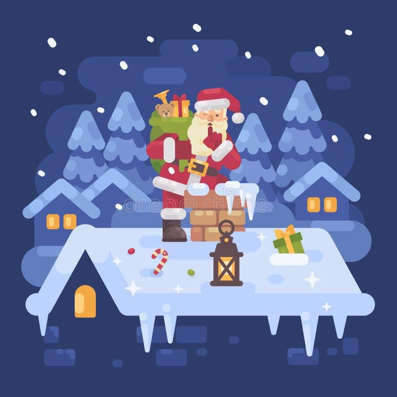 Santa Claus gaie sur un toit s'élevant dans la cheminée illustration de vecteur