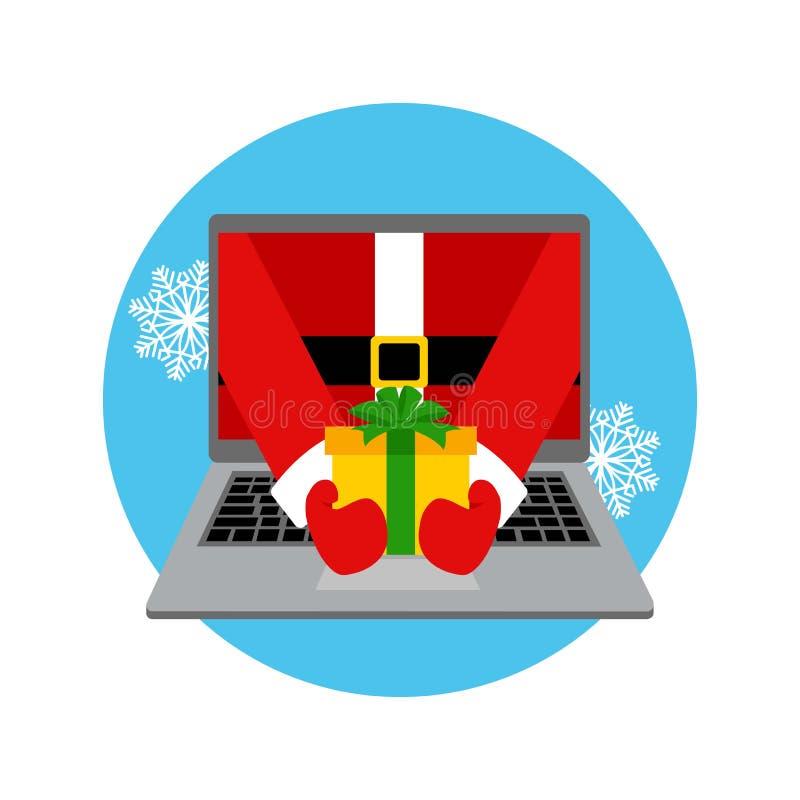 Santa Claus ger en gåva illustration 3d på vit bakgrund Färgrikt illustrationbegrepp för plan design för online-gåvabeställa och  stock illustrationer