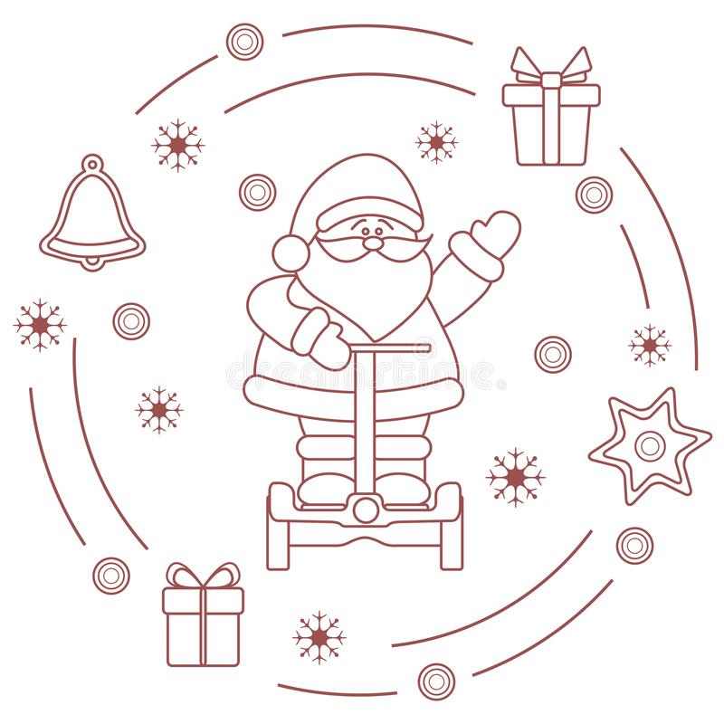 Santa Claus, Geschenke, Glocke, Lebkuchen lizenzfreie abbildung