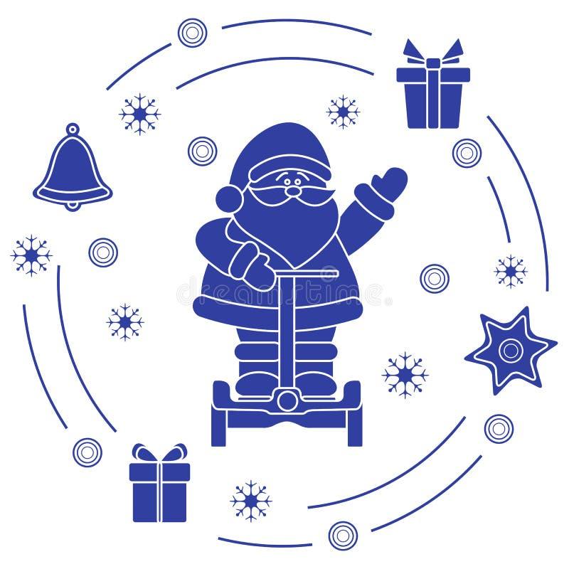 Santa Claus, Geschenke, Glocke, Lebkuchen, Stern, Schneeflocken Symbole des neuen Jahres und des Weihnachten stock abbildung