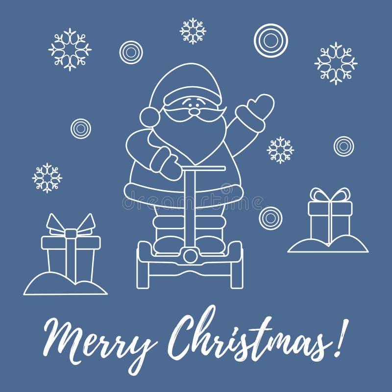 Santa Claus, Geschenke, Schneeflocken lizenzfreie abbildung