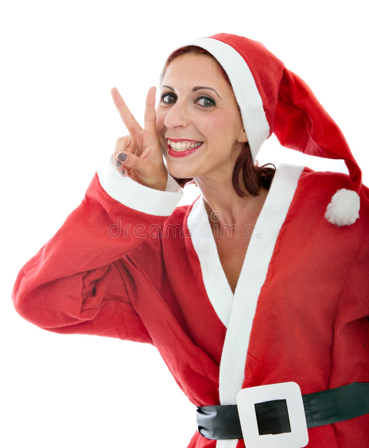 Santa Claus Gesturing Win Royalty Free Stock Image