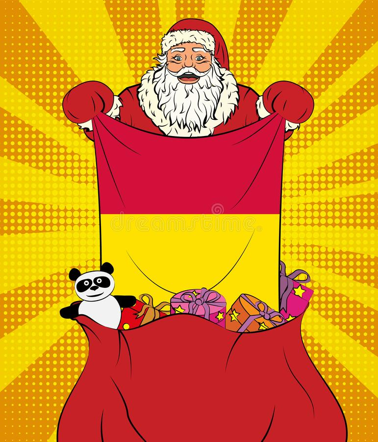 Santa Claus gets national flag of Andorra out of the bag with toys in pop art style. Illustration of new year in pop art style. On yellow background vector illustration