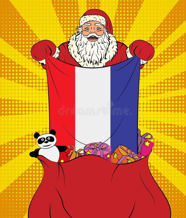 Santa Claus gets national flag of Netherlands out of the bag with toys in pop art style. Illustration of new year in pop art style. On yellow background stock illustration