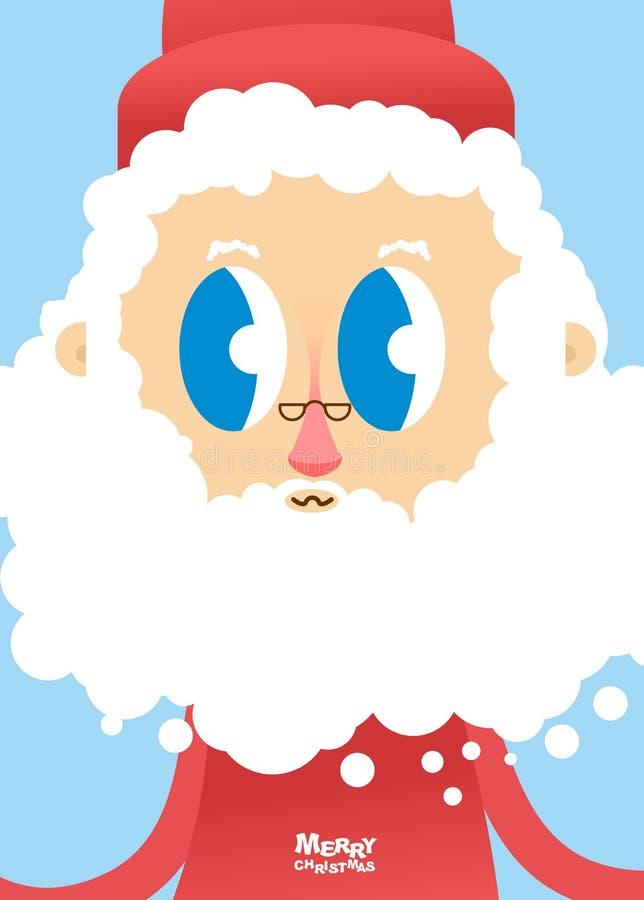 Santa Claus-gezichtsclose-up Groetkaart voor Kerstmis en nieuw vector illustratie