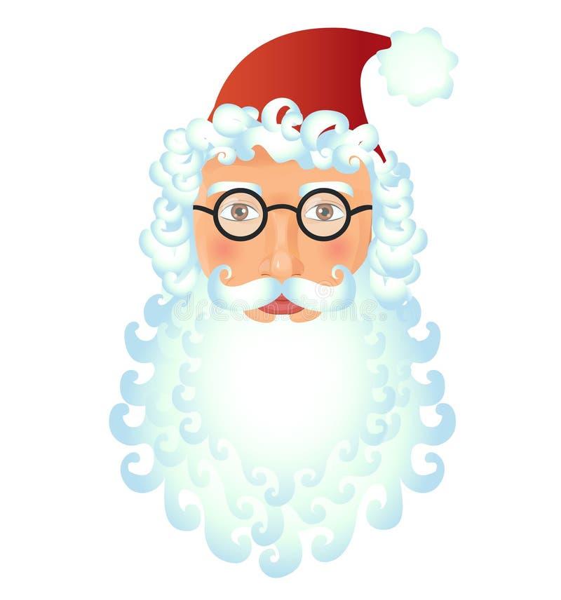 Santa Claus-gezichtsmanier op witte Zieke die vector wordt geïsoleerd als achtergrond stock illustratie