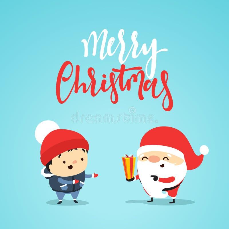 Santa Claus gibt dem kleinen Kind, ein Junge Geschenk lizenzfreie abbildung