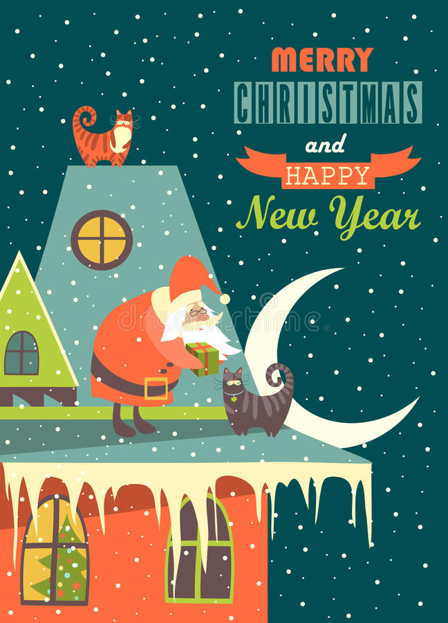 Santa Claus gibt einer Katze Weihnachtsgeschenk lizenzfreie abbildung