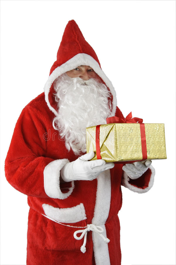 Download Santa Claus with gift stock photo. Image of beard, white - 12180170