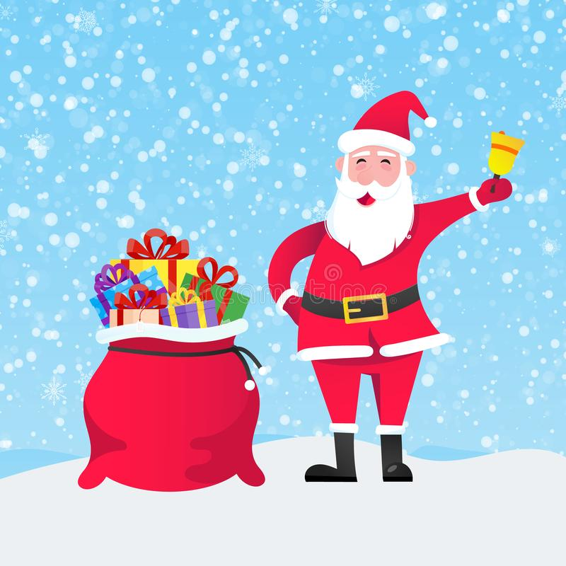 Santa Claus with gift bag and present gifts standing up with falling snow. Flat style design vector illustration. Merry christmas and happy new year symbols royalty free illustration