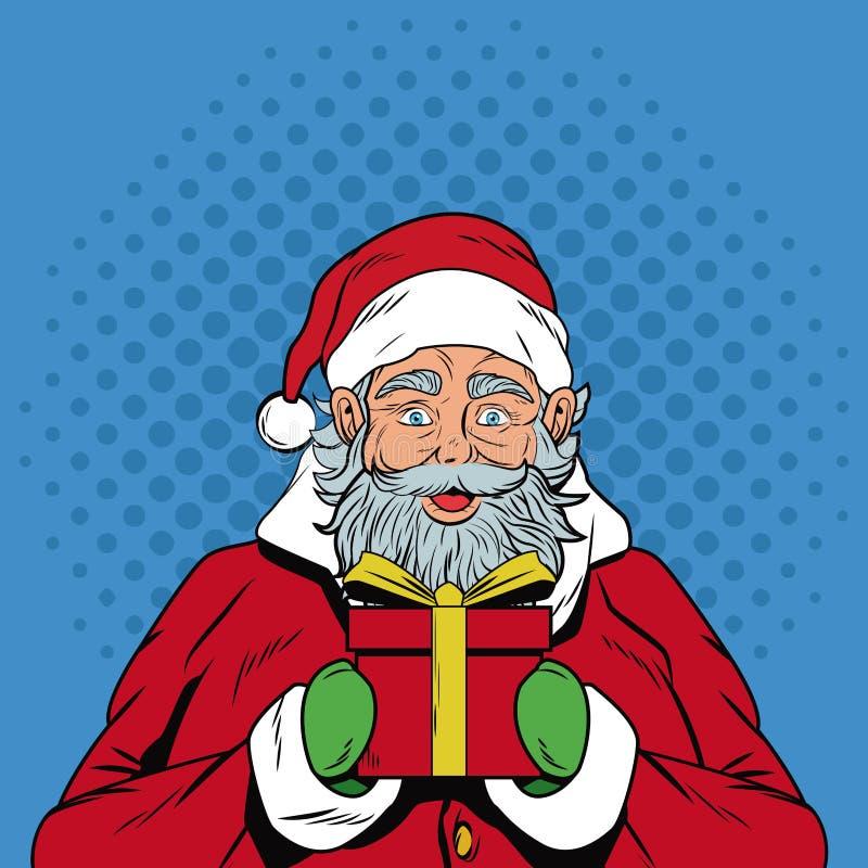 Santa claus with gift Christmas pop art stock illustration